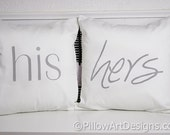 His and Hers Pillow Covers Grey and White 16 x 16 Fully Lined Made in Canada