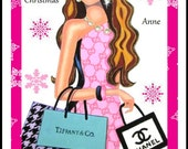Personalised Card Birthday Christmas Fashion girl pink monochrome dress chanel bag 8 x 6 inches from Art