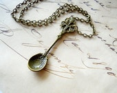Antiqued Spoon Necklace, Spoon Charm Necklace, Kitchen Gifts Jewelry for Chefs, Food Lovers