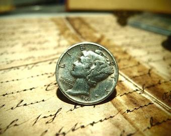 Vintage Mercury Dime pin tie tack Real Silver dime
