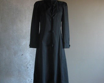 80s VINTAGE women's power coat by Portrait black long medium made in Hong Kong
