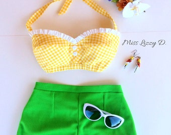 PinUp 60s Style Yellow Gingham Halter top, Mod Rockabilly Summer bandeau