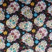 "FOLKLORIC SUGAR SKULLS Fabric, Cotton Fabric , 18"" X 44"", 1/2 Yard, Black Color, New, Rare"