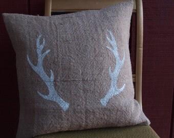 Burlap Antlers Pillow Cover