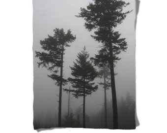Fleece Blanket - Foggy Trees - Black Gray White - Decorative Fleece Blanket - Baby Blanket - Medium Large Blanket