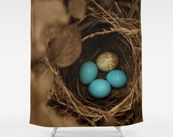 Fabric Shower Curtain - Bird Nest Bird Eggs Blue Eggs Sepia - Decorative Shower Curtain - 71x74 inches