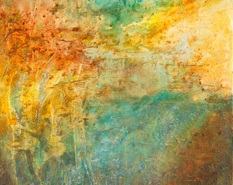 Large Abstract Landscape Mediterranean Colours 24x24 inches Honey Maple Floater Framed Colours Teal, Turquoise, Gold, Brown, Burnt Sienna
