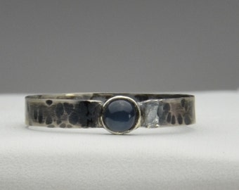 Stackable Hand Forged Sterling Silver Ring With Moonstone