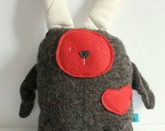 eco- friendly soft plush,rabbit,bamboo,wool, felt,brown,red,white, reclaimed materials,children,baby