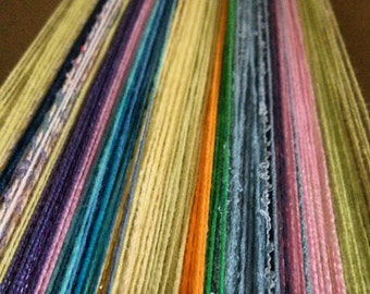 Custom made warp for Saori weaving - cotton & other fibres