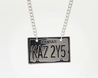 Supernatural License Plate Necklace - KAZ 2Y5 Metal - Pendant Gift - Sam Dean Winchester