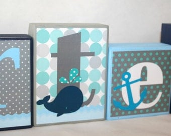Carter Nautical Collection - Aqua , Light Blue, Gray, Navy and white Name Blocks - Whale and Anchors Theme  - Custom made