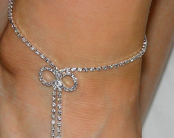 Rhinestone Anklet Bracelet with bow detail