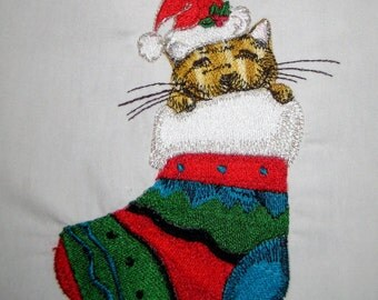 Christmas Santa Cat Embroidered Quilt Block