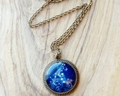Antique Bronze Large Constellation Star Night Sky Pendant Necklace