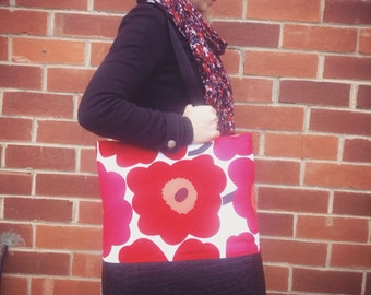 Large Marimekko Unikko Tote Bag , laptop bag, diaper bag , overnight bag, travel bag , baby bag