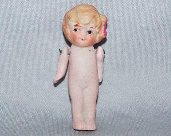 Vintage / Bisque / Doll / Flapper / Red / Bow / frozen charlotte / penny doll / Vintage Dolls