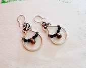 Droplet Hoop Earrings with Pyrite and Onyx -Wire Wrapped Earrings Wire Wrapped Jewelry Little Hoop Earrings Gemstone Earrings Customize Wire