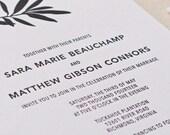 Willow Branch Wedding Invitation, Letterpress printed SAMPLE