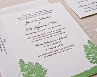 Pine Wedding Invitation, Letterpress printed SAMPLE