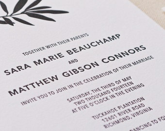 Willow Branch Wedding Invitation, Letterpress printed SAMPLE
