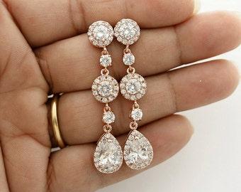 Rose Gold Earrings Wedding Jewelry Pink Gold Long Crystal Wedding Earrings Teardrop Rose Gold Bridal Jewelry, Reagan