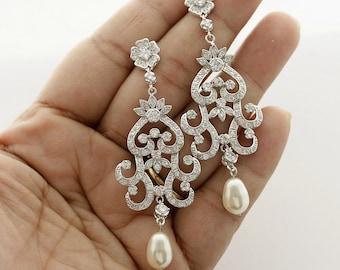Chandelier Wedding Earrings Bridal Crystal Chandelier Earrings Bridal Jewelry Cubic Zirconia Vintage Style Pearl Drop Earrings, Stephanie