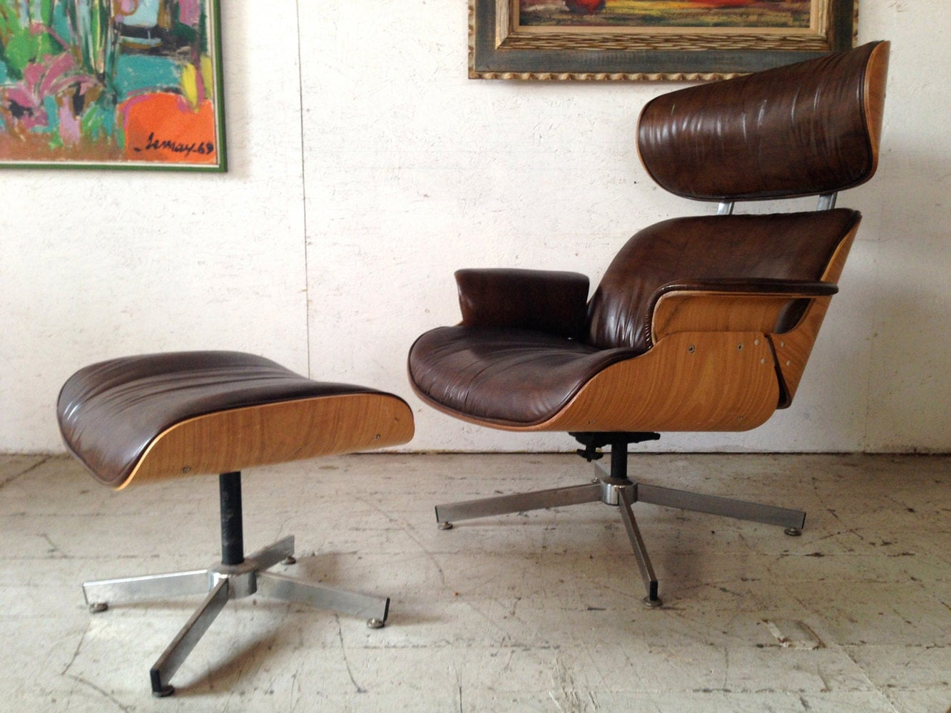 MADMEN SALE Plycraft Selig Lounge Chair & Ottoman 1960s