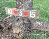 Wood Wedding Save the Date Sign Rustic Bridal Photo Prop Engagement with Red Hearts