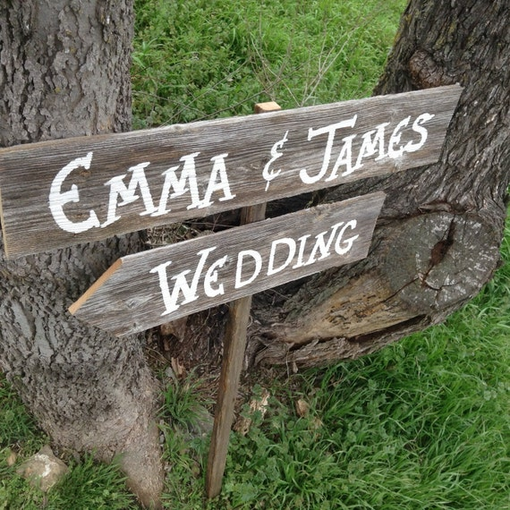 Personalized Name Wedding Sign on Stake Rustic Western Bridal Reception Directional