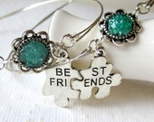 Best Friend Bracelet BBF Bangle Interlocking Puzzle Stained Glass Flower Cabochon 2 Bracelets Friend Forever Lovers Jewelry Togetherness