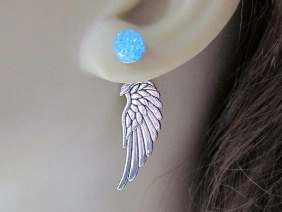 Angel Wing Reverse Earrings Phoenix Earrings Front Back Earrings Mother Dragon Egg Earrings Silver Fantasy Earrings Wing Ear Jacket