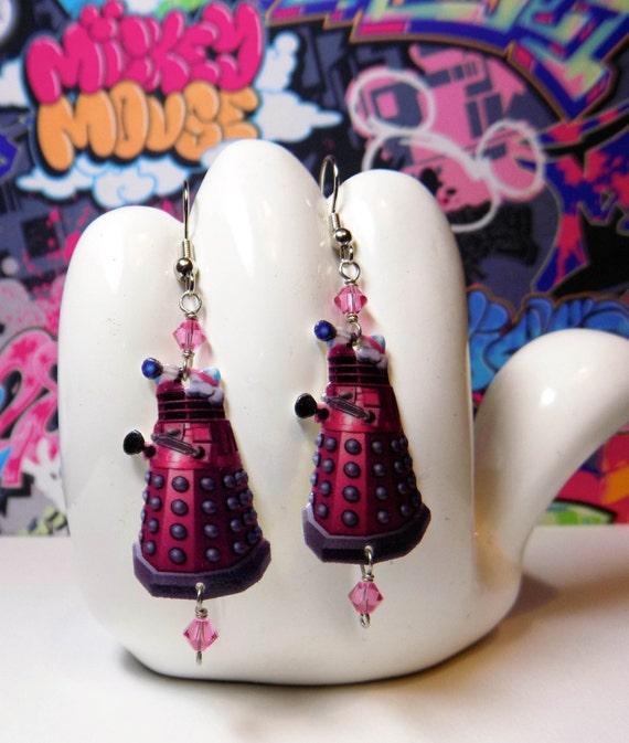 Doctor Who Pretty in Pink Dalek Dangle Earrings