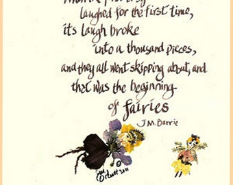 Beginning of Fairies Poem, JM Barre, fairies, When the First Baby Laughed, calligraphy card, pressed flowers