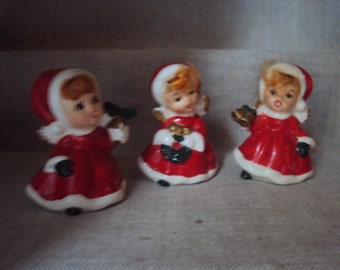 Vintage Caff Co made in Japan Trio of Red Angel Carolers with Original Paper Labels and Ginger Hair