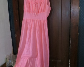 1950s  bright pink ruffled top double nylon top   long nightgown sz 40