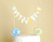 Mint Green Gold Yellow and Blue Fabric Bunting Cake Topper / Carnival Bunting Cake Topper / Gender Neutral Baby / Mint and Gold Party