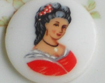 N1347 Vintage Cabochon Limoges Cab Cameo Woman Lady Victorian W.Germany 25mm NOS