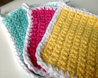 Set of 3 Cotton Washcloths Mint Green, Fiesta Hot Pink and Canary Yellow White Cotton Coasters, Pot Holders Crochet