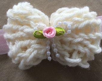 Bow Headband Elastic Hand Knit Flower Girl Cream Tan Pink Rose Pearls Girls Spring Flower