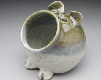 Salt Pig - Pig Jar - Candy Dish - Green and White