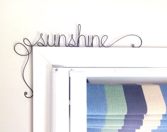 Unique 'sunshine' Door Sign,  Unique Over the Door 'sunshine' Wall Word
