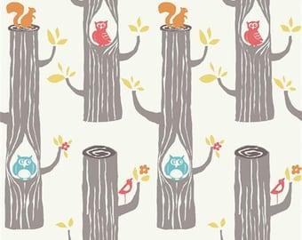 Birch Circa52 - Woodland Friends- Organic Cotton Fabric  low shipping