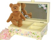 Personalized Jewelry Box - Hand Painted Pastel Pink, Blue Flowers - Keepsake Box, Wood, Mirror, 2 Trays