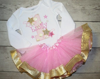 Twinkle Twinkle Little Star, Pink and Gold Sparkle Birthday Shirt and Matching Ribbon Tutu Birthday Outfit- Cute Cake smash outfit for girls