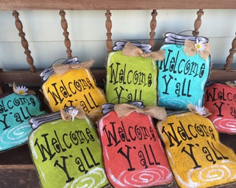 Small Burlap Mason Jar Door Hanger in Coral, Yellow, Green and Blue AND RED... Welcome y'all