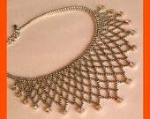 Rhinestone Bib Necklace, Aurora Borealis, Yellow Orange, Formal Wear, Vintage 1980's
