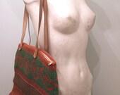 vintage. 80s X Large Woven Bag   //  Tribal Boho