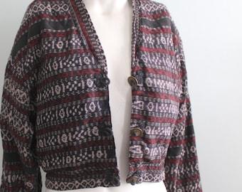 vintage.  Black Tribal Ethnic IKAT Cotton Jacket // Bolero Cut Jacket // Gypsy Boho Free Size