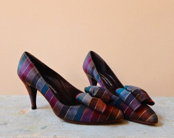 1980s Plaid Bow Shoes Stuart Weitzman for Mr Seymour Super Cute Ultra Feminine Vintage Madras High Heels